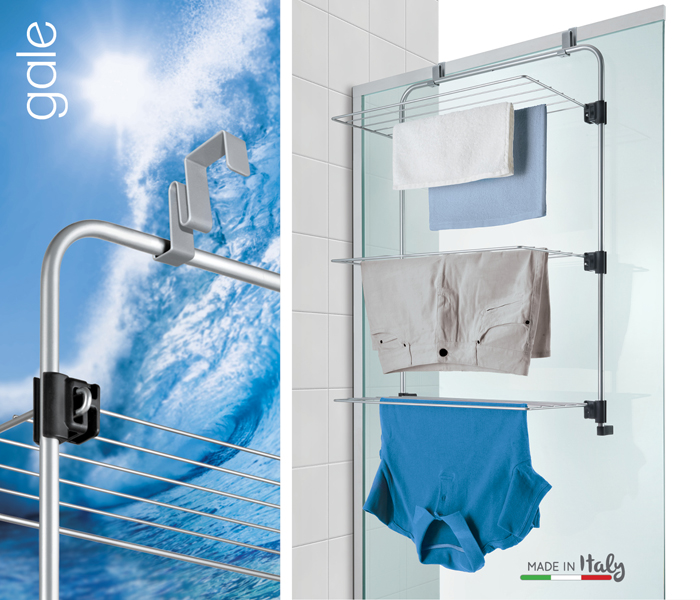 GALE Is A Compact But Smart And Efficient Drying Rack That Allows You To  Exploit The Space Behind Doors And Shower Boxes.